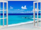 Ocean View Wall Murals Details About 3d Beach Wall Stickers Window View Home Decor