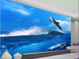 Ocean Wall Mural Wallpaper Blue Sky Ocean Nature Dolphin Wave Tv Background Wall Wallpaper for Walls 3 D for Living Room Wallpapers In Hd Wallpapers Mobile Hd From Dhzhang