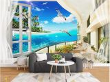 Ocean Wall Mural Wallpaper Custom Wallpapers 3d Murals Wallpaper 3d European Mediterranean Beach Tree Sea View Living Room Wall Papers Home Decor Girls Wallpapers Good Hd