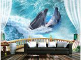 Ocean Wall Mural Wallpaper Us $11 79 Off 3d Wallpaper Custom 3d Wall Murals Wallpaper Balcony Sea Ocean Dolphin Background Wall Paintings 3d Living Room Photo Wallpaper In
