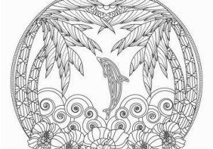 Ocean Waves Coloring Pages Tropical Beach and Dolphin Ocean Mandala Adult Coloring Page
