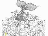 Ocean Waves Coloring Pages Whale Tail In the Wavy Ocean Lines Art for Adult Coloring