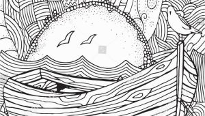 Ocean Waves Coloring Pages Wooden Boat Floating On the Waves Waves Boat Sea Art