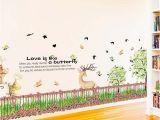 Octonauts Wall Mural Fence Flower Grass Wall Stickers Pvc Material Green Grass Fawn