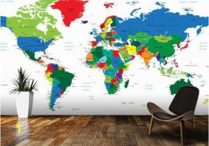 Old World Map Wall Mural Bright World Map Wall Mural Room Setting