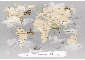 Old World Map Wall Mural Pennie Vintage World Map Hot Air Balloon Textile Texture Wall Mural
