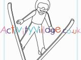 Olympic torch Coloring Page Ski Jumping Colouring Page