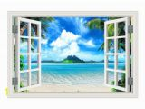 Open Window Wall Murals 1kingo Wall Art Removable Wall Sticker Sea and Mountain Window Beautiful View Mural Decor Nursery Wall Decals Nursery Wall Sticker From Bowstring