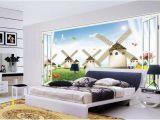 Open Window Wall Murals Custom Size 3d Wallpaper Living Room Bedroom Mural Netherlands Windmill 3d Window Picture sofa Tv Backdrop Wallpaper Non Woven Sticker Free