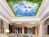 Order Wall Murals Online 3d Ceiling Murals Wallpaper Custom Non Woven Wall Murals Eros Angel Green Leaves Blue Sky White Clouds Diamond soft Zenith Mural Digital