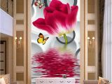 Oriental Garden Wall Mural Cheap Flower House Wallpaper Buy Quality Flowering Hostas
