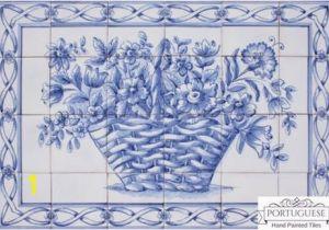 Outdoor Ceramic Tile Murals Blue Flower Basket Hand Painted Ceramic Tile Mural Backsplash