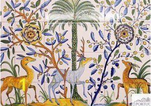 Outdoor Ceramic Tile Murals Deer Hand Painted Ceramic Tile Mural Backsplash