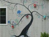 Outdoor Garden Wall Murals Ideas Tree Mural Brightens Exterior Wall Of Outbuilding or Home