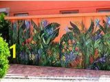 Outdoor Wall Murals for the Garden Painted Flowers On A Fence Fences