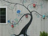 Outdoor Wall Murals for the Garden Tree Mural Brightens Exterior Wall Of Outbuilding or Home