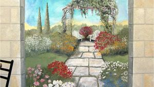Outdoor Wall Murals Posters Garden Mural On A Cement Block Wall Colorful Flower Garden