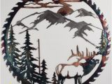Outdoor Wildlife Wall Murals Sawblade Metal Art Mountain Elk Rustic Metal Wall Art