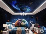 Outer Space Ceiling Murals 3d Earth Planets Satellite Universe Entire Room Wallpaper Wall