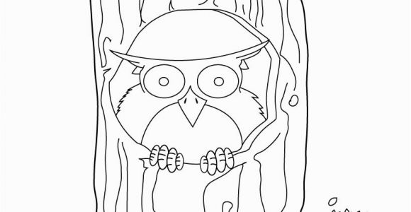 Owl In A Tree Coloring Page Owl Sitting On the Tree Coloring Pages Hellokids