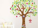 Owl Peel and Stick Wall Mural New 160cm 140cm Owl Big Apple Tree Colorful Birds and Nest