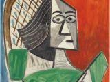Pablo Picasso Mural Pablo Picasso Femme assise Sur Fond Bleu Rouge 1956