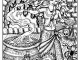 Pagan Witch Coloring Pages for Adults Beautiful Witch and Her Cauldron Halloween Adult