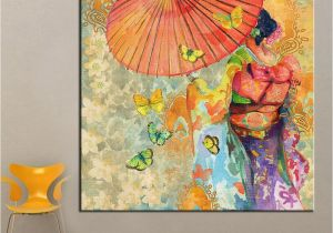 Paint by Number Wall Murals for Adults 2019 1 Panel Wall Art Japanese Kimono Oil Painting Canvas Wall