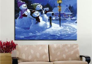 Paint by Number Wall Murals for Adults 2019 Oil Painting by Numbers Diy Handpainted Winter Snowman Family