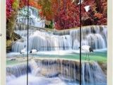 Painted Bathroom Wall Murals 3d Wallpaper Autumn Red forest Waterfall Birds Wall Murals
