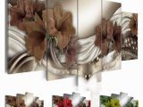 Painted Floral Wall Murals 2019 Fashion Wall Art Canvas Painting Red Brown Green Diamond Lilies Flower Modern Home Decoration No Frame From Wlz $11 06