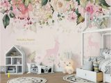 Painted Floral Wall Murals Flower Wall Murals Wallpaper White Flower On Blue