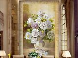 Painted Flower Wall Murals Amazon Xbwy European Style Vase Flower Oil Painting
