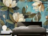 Painted Flower Wall Murals Lily Magnolian Floral Wall Decor Wall Mural Oil Paiting