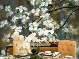 Painted Flower Wall Murals Oil Panting Cherry Blossom Floral Wall Mural Wallpaper Hand Painted Branch Cherry Blossom Wall Mural Flowers Wall Mural for Wall Decor