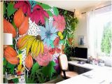 Painted Flower Wall Murals the Flower Wall Mural Interior Colors In 2019