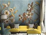 Painted Flower Wall Murals Vintage Floral Wallpaper Retro Flower Wall Mural Watercolor