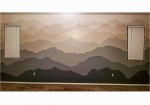 Painted Mountain Wall Mural Hand Painted Wall Mural Of Gra Nt Mountain Ranges Done In