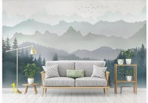 Painted Mountain Wall Mural Oil Painting Abstract Mountains with forest Landscape