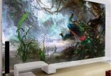 Painted Murals On Walls 3d Nature Wallpaper Beautiful Peacock forest 3d Stereo Oil Painting