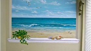 Painted Ocean Wall Murals This Ocean Scene is Wonderful for A Small Room or Windowless