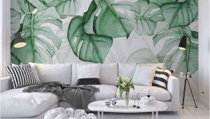 Painted Tropical Wall Murals Custom Wallpaper Mural Hand Painted Tropical Plants Leaves