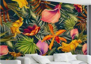 Painted Wall Mural Ideas for Living Room Custom Wall Mural Tropical Rainforest Plant Flowers Banana