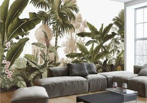 Painted Wall Mural Ideas for Living Room Hand Painted Tropical Rainforest forest Wallpaper Wall Mural