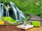 Painted Wall Mural Ideas for Living Room Lwcx Custom Mural 3d Wallpaper forest Falls Bridge
