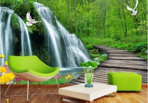 Painted Wall Mural Ideas for Living Room Lwcx Custom Mural 3d Wallpaper forest Falls Bridge