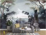 Painted Wall Mural Ideas for Living Room Murwall Dark Trees Painting Wallpaper Seascape and Pelican