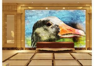 Painted Wall Murals Cost Papel De Parede Custom 3d Photo Murals Wall Paper Hand Painted Duck Oil Painting Retro Living Room Tv sofa Background Wall Decoration