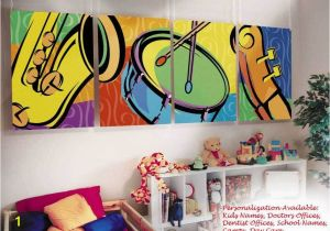 Painted Wall Murals for Kids Kids Childrens Wall Murals Art Music theme