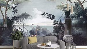 Painted Wall Murals Of Trees Murwall Dark Trees Painting Wallpaper Seascape and Pelican